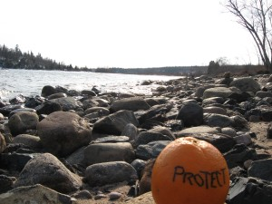 Northern Ontario, April 2008. And an orange.